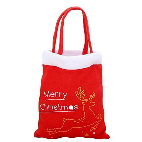 Mackur Motif d'arbre de Noël Sac Cadeau Rouge Sac de Rangement 21 * 38 cm sachets à Bonbons Décoration de Noël 1 pièce, Coton, Style 2, 21 X 38CM