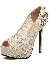 LBDX Zapatos de Primavera y Otoño Para Mujer Zapatos de Boca de Pescado Rhinestone Sexy Nightclub Stiletto