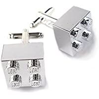 Chrome Silver Cufflinks Handmade with LEGO® Bricks