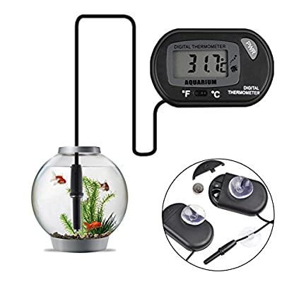 Jespeker Aquarium Thermometers Digital Fish Tank Water LCD Black with Suction Cup for Measuring Pond Marine Temperature 1