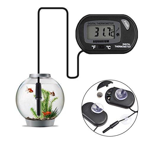 Jespeker Schwarzes Thermometer Aquarium Digital LCD mit Saugnapf für das Messen der Teich-Marinetemperatur Thermometer für Aquarium Fisch