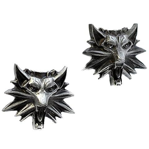 Beaux Bijoux Paire de boutons de manchette pour homme en forme de tête de loup Thème The Witcher 3Wild Hunt