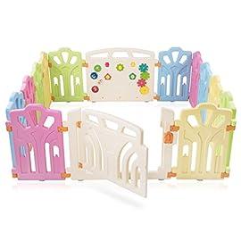 Baby Vivo Box per Bambini Sicurezza Barriera Pieghevole Cancelletto Recinto con Porta Plastica Parte principale…