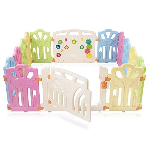 Baby Vivo Laufgitter Laufstall Baby Absperrgitter Krabbelgitter Schutzgitter für Kinder aus Kunststoff mit Tür und Spielzeug erweiterbar - Baby Zaun
