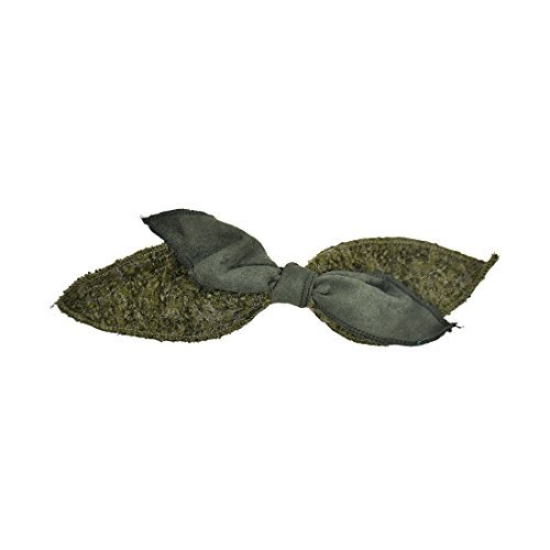 Motique Accessories Small Wool and Suede Hair Bow - Olive