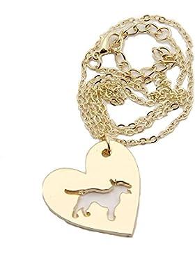 Halskette Bullterrier mit Herz inkl. Isalia Schmucketui