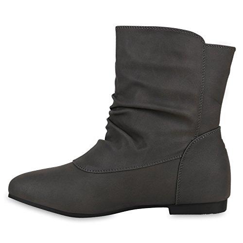 Stivali Da Donna Classici Boot Boots Antiscivolo Pelle Look Comodi Stivali Alla Caviglia Scarpe Leggermente Imbottite Con Rivetti Flandell Grigi