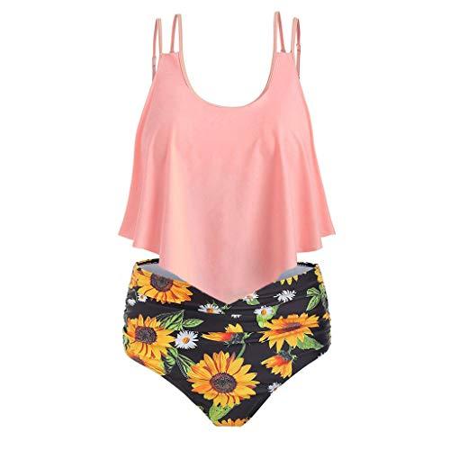 Produp Womens Summer Large Size Bikini Set Ruffled High Waist Sunflower Print Comfortable Bikini (Nike-bettwäsche-set)