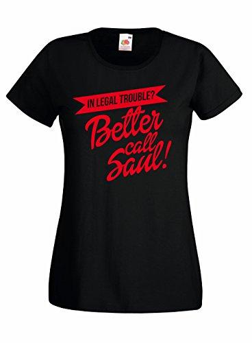 T-shirt Donna Better Call Saul - red logo Maglietta Breaking Bad 100% cotone LaMAGLIERIA,M, Nero