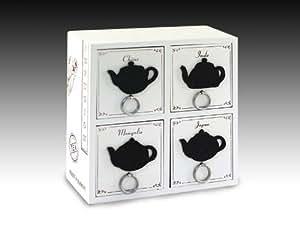 Boite de rangement 4 tiroirs Theiere, 23x23x9,5 cm