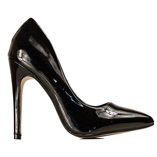 Toocool - Scarpe donna decolletes decoltè tacchi alti punta vernice lucide nuove 70503 Nero