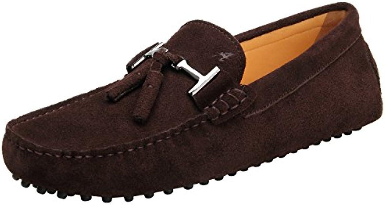 Shenduo Hombre Zapatos Casuales - Mocasines de Piel con borlas Cómodos para Hombre D7157