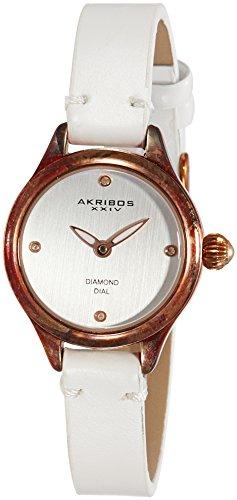 Akribos XXIV Femme Montre à quartz avec cadran or rose affichage analogique et bracelet en cuir blanc ak750wtr