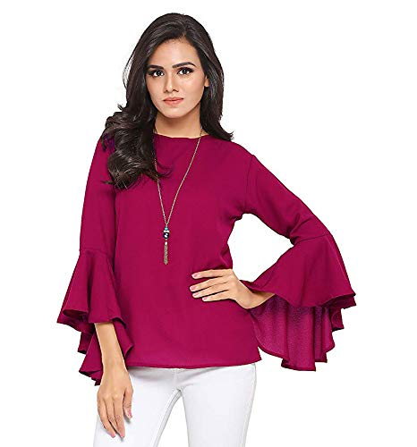 Istyle Can Women's Top (Crepe top with Flute Sleeves) (Wine, Medium)