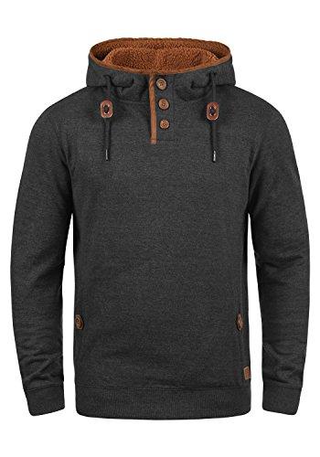 Blend Alexo Teddy Herren Sweatshirt Pullover Pulli Mit Kapuze Und Teddy-Futter, Größe:L, Farbe:Charcoal Mix Teddy (75124)