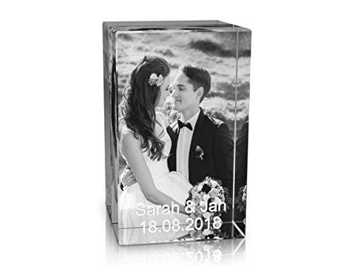 VIP-LASER 2D Gravur Glas Kristall Quader im Hochformat mit dem Foto Deiner Hochzeit/Hochzeitsfoto. Dein Wunschfoto für die Ewigkeit Mitten in Glas!...