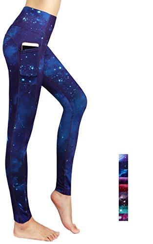 Munvot Tailored Geschenke Schön Galaxy Printed Tummy Control Yoga Pants Sport Leggings Blickdichte Leggings Hohe Taille Strumpfhose Bunt Shapewear Strech Sweathose Ozean Blau L (Spandex-stretch-leggings)