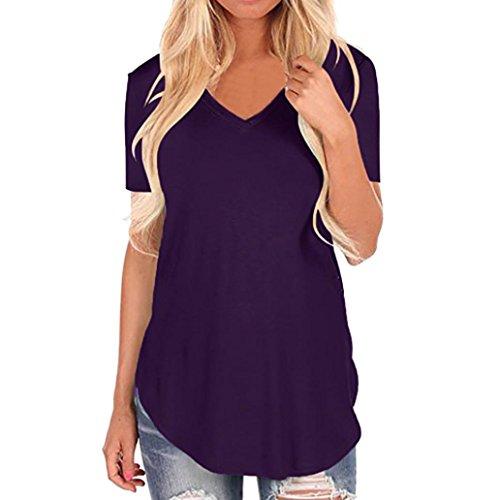 OVERDOSE Frauen Kurzarm V-Ausschnitt Unregelmäßiger Hemd Lose Damen Casual Tee T-Shirt Tops Sommer Oberteile(Violett,L