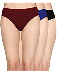 IVAZA Womens Brief/Hipster 100% Cotton Ladies Multi Color Panty Inner wear Hipster Panties for Womens Combo (Pack of 3)