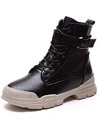 8c5fafd1010ca KPHY Zapatos de Mujer Botas Cortas con Altas 4Cm De Fondo Plano Martin  Botas Estudiantes