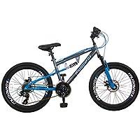 Muddyfox Idaho, Boys Dual Suspension/Dual Disc Brake 21 Speed Mountain Bike - Grey/Blue, 24 inch Wheels