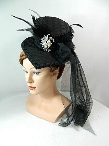 Midi Damenhut Tropfen Teardrop Fascinator schwarz Headpiece Kopfschmuck Gothic Western Steampunk (Pferderennen Motto Kostüm)