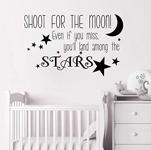 jiuyaomai Spara per la Luna Decalcomania da Muro Nursery Decor Stars Adesivo da Parete in Vinile Bayby Sweet Dream Adesivo Buon Sonno Vinyl Decal A Brown 57x36cm