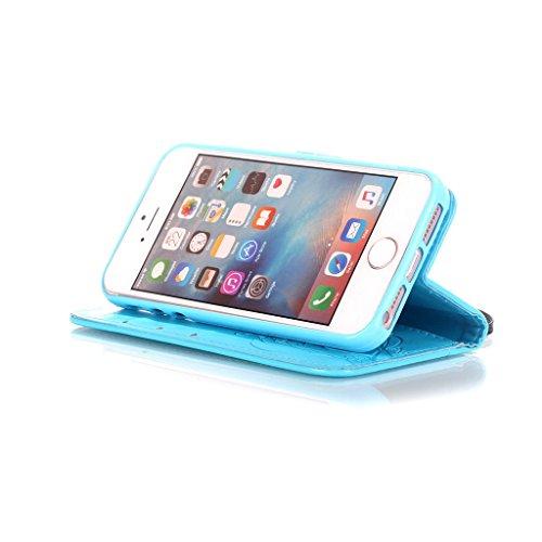 CareyNoce iPhone SE/5S/5 Coque,Arbre Plume Pissenlit Fleur Retro Painted Embossed Pattern Conception Flip Housse Etui Cuir PU Coque pour Apple iPhone SE iPhone 5S iPhone 5 (4.0 pouces) -- Gris Plume T27