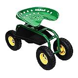 HENGMEI Gartensitz Rollsitz fahrbar Sitzgelegenheit Arbeitssitz Gartenwagen Rollwagen für Haushalt und Garten (Modell B)