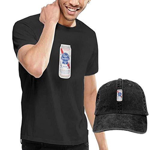 Kalinanai T-Shirts, T-Stücke, Pabst-Blue-Ribbon Men's Classic T-Shirt mit Washed Denim Baseball Hat Schwarz