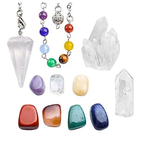 JSDDE Rock Crystal Quartz Chakra Healing Kit - 7 Chakra Tumbles Lot, Quartz Cluster Druzy Specimen, Chakra Quartz Pendulum, Quartz Point Wand Yoga Balance Meditation Decor Set