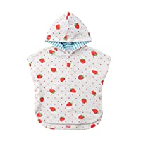 Carolilly Baby Hooded Bath Towel Poncho Cotton Bathrobe Super Soft Swim Cover up for Toddlers (1-2 Years, Strawberry)