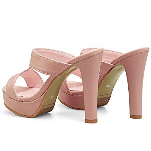 Donne Di Rosa I Fanno Sandali Piattaforma Della Alta Punta Della Taoffen Talloni Scarpe Bloccano Capolino Muli Moda rqwBErf1xa
