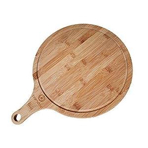 Pizzabrett aus Bambus - Rund ø 30cm - Formschöner Pizzateller / Flammkuchenbrett / Servierbrett mit Griff