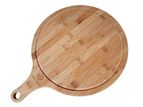 Bamdoo - tagliere per pizza in bambù,rotondo, Ø 30cm, con manico
