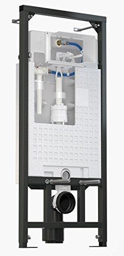 WC Vorwandelement für Trockenbau 120 cm inklusive Betätigungsplatte Chrom Matt Typ Oval Unterputzspülkasten Spülkasten Wand WC hängend Schallschutz