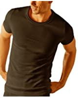 MENS THERMAL T SHIRT SHORT SLEEVED WARM VEST UNDERWEAR WHITE OR CHARCOAL S M L XL XXL