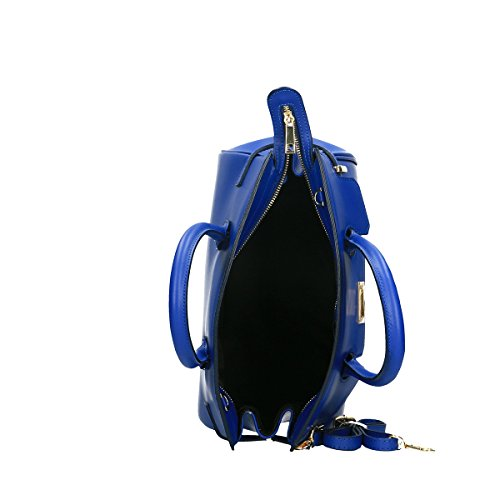 Chicca Borse Borsa a tracolla in pelle 33x28x17 100% Genuine Leather Blue