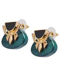 Shaze Women's Brass Inverted Final Earring (Multicolour)