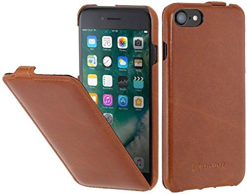 StilGut Leder-Hülle kompatibel mit iPhone 8/iPhone 7 vertikales Flip-Case, Cognac