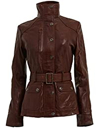Women's Smart Retro 100% Brown Nappa Leather Jacket Military High Collar