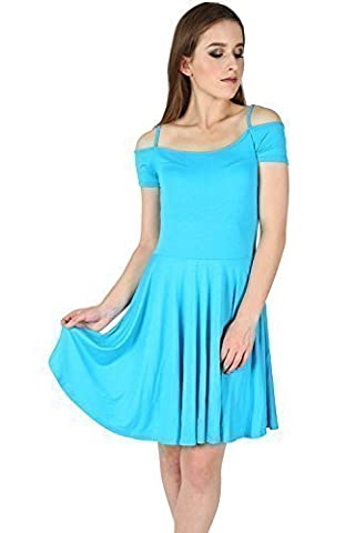 Womens Ladies Strappy Camisole Cut Bardot Off Shoulder Flared Swing Skater Dress Plus Size (UK 24/26) Turquoise