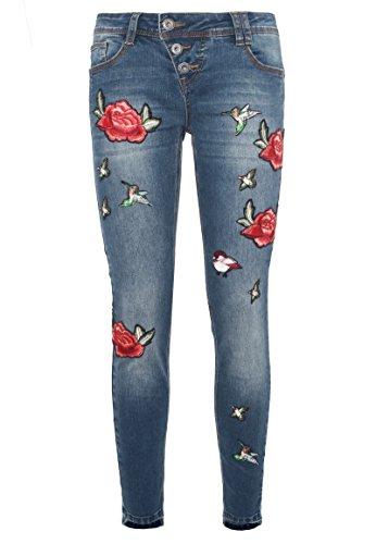 ROCK ANGEL Damen Skinny Fit Jeans AMY | Bequeme 5-Pocket Jeanshose mit Rosen-Patches dark-blue S (Verziert, 5-pocket-jeans)