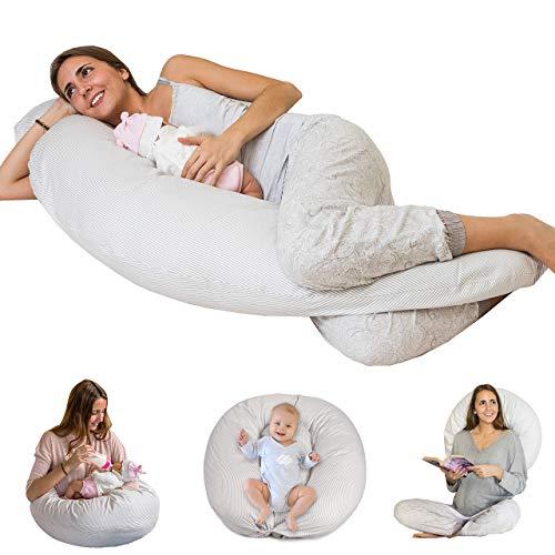 Bamibi® Almohada Embarazada + Cojín Interno Multifuncional, Cojín Lactancia Bebé, Cama Nido Bebé...
