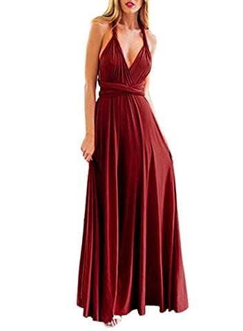Kinikiss Femmes sans manches élégante robe de soirée Polyester haute taille décapotable multi-couches envie de demoiselle d