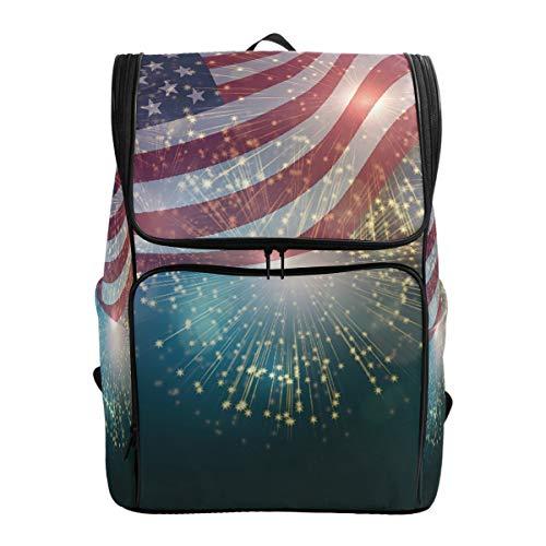 Rucksack Rucksack Travel Daypack Amerikanische Flagge Feuerwerk Unabhängigkeit 4. Juli Floral Abstract Book Bag Casual Travel Wasserdicht