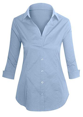 Damen Hemd Stretch 3/4 Ärmel Knopf Leiste eleganter (Kostüm Koch Asiatische)