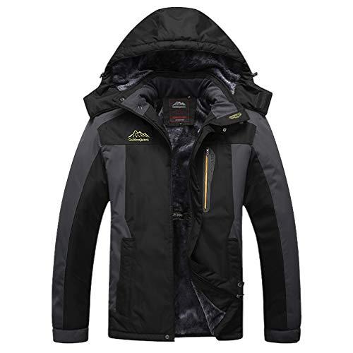 AidShunn Softshelljacken für Herren Im Freien Wasserdicht Ski-Jacken für Wandern Skifahren Eislaufen Winter Hoodie Mantel-3XL=Tag 4XL