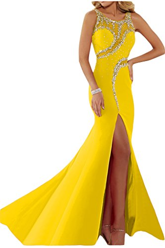 ivyd ressing Femme luxurioes fente col rond pierres Party robe Lave-vaisselle robe robe du soir Or - Doré