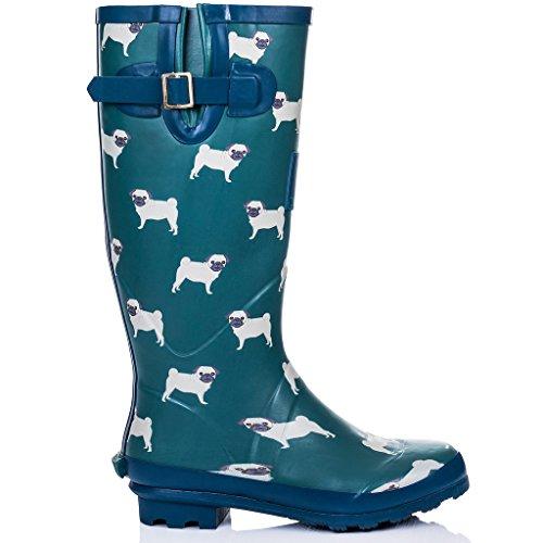 SPYLOVEBUY IGLOO Damen Verstellbare Schnalle Flache Fest Gummistiefel Regenstiefel Blau Pug